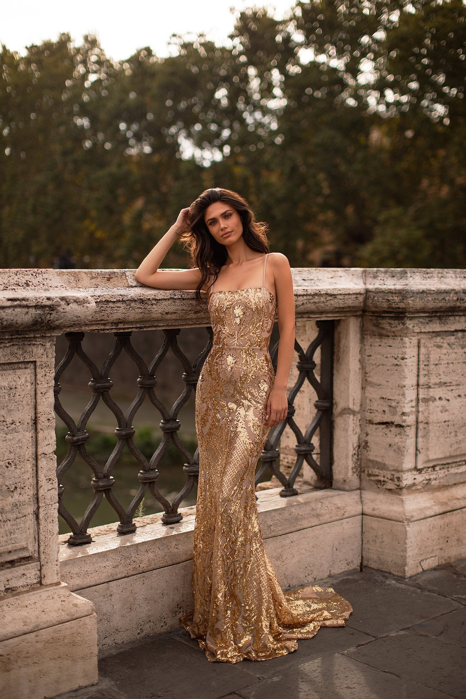 Sonia - Gold Sequin Mermaid Gown with Straight Neckline & Lace-Up Back