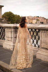 Roselyn - Gold Off-Shoulder Glitter Gown with Cape & Mermaid Train