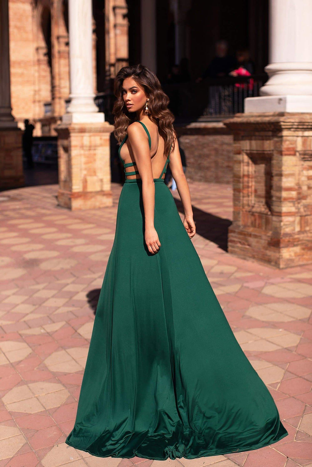 Maritza - Emerald Jersey Gown with Plunge Neck Detailing & Two Slits