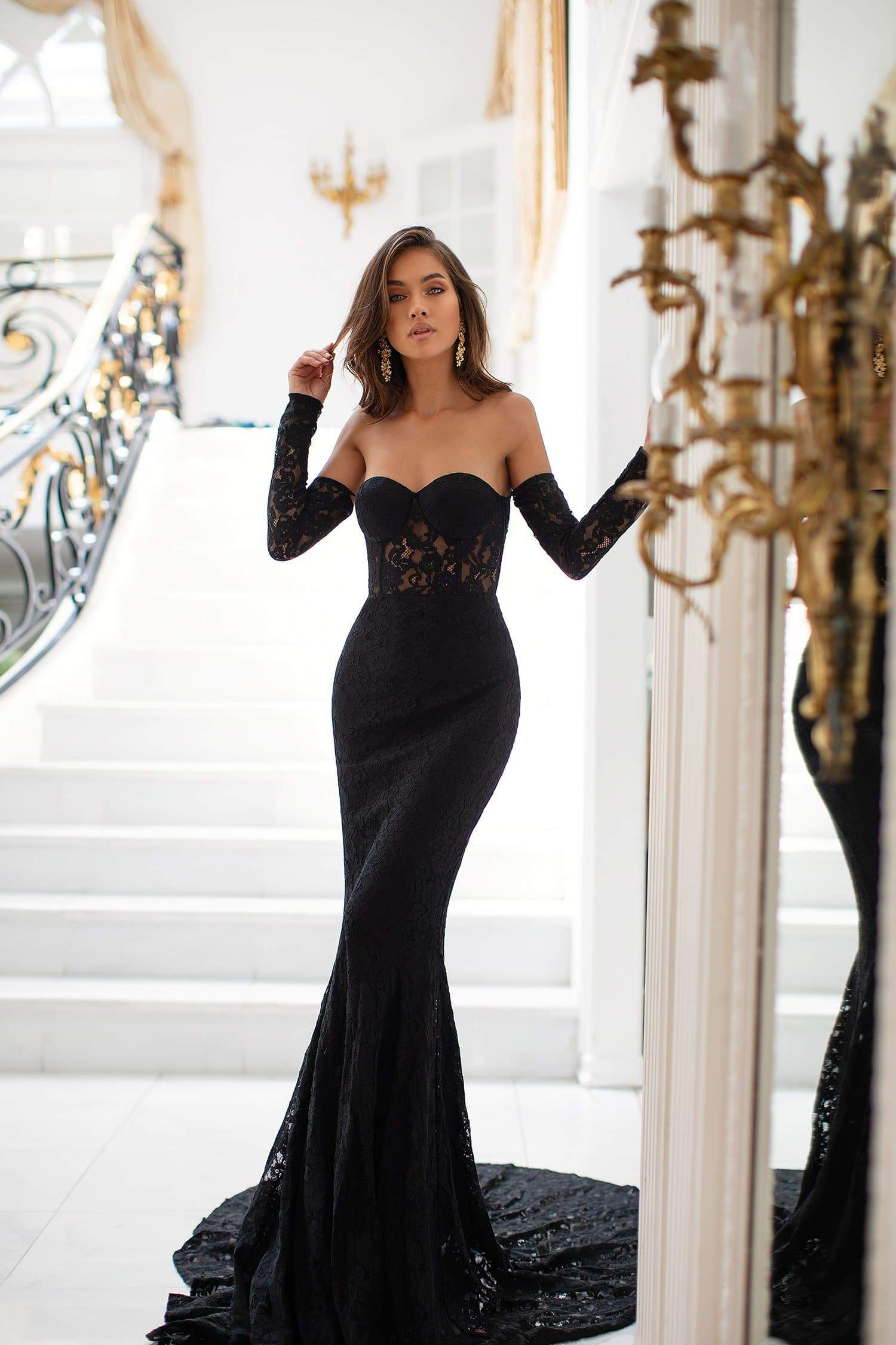 Sophie - Black Off-Shoulder Lace Mermaid Gown with Long Sleeves