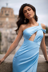 Carina - Sky Blue One-Shoulder Satin Gown with Slit & Cut-Out Detail