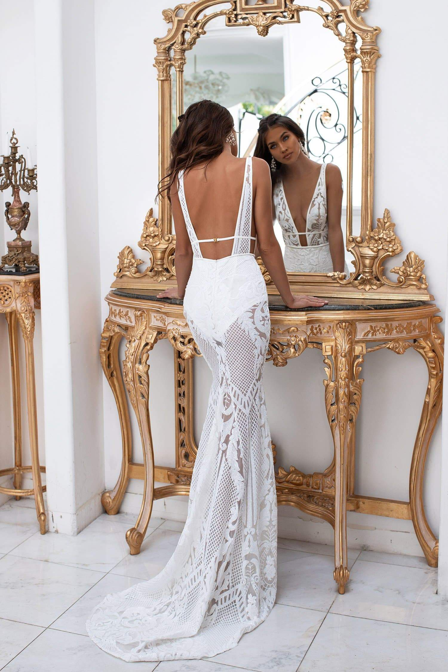 Elyse - White Patterned Sequins Gown with Plunge Neck & Open Back