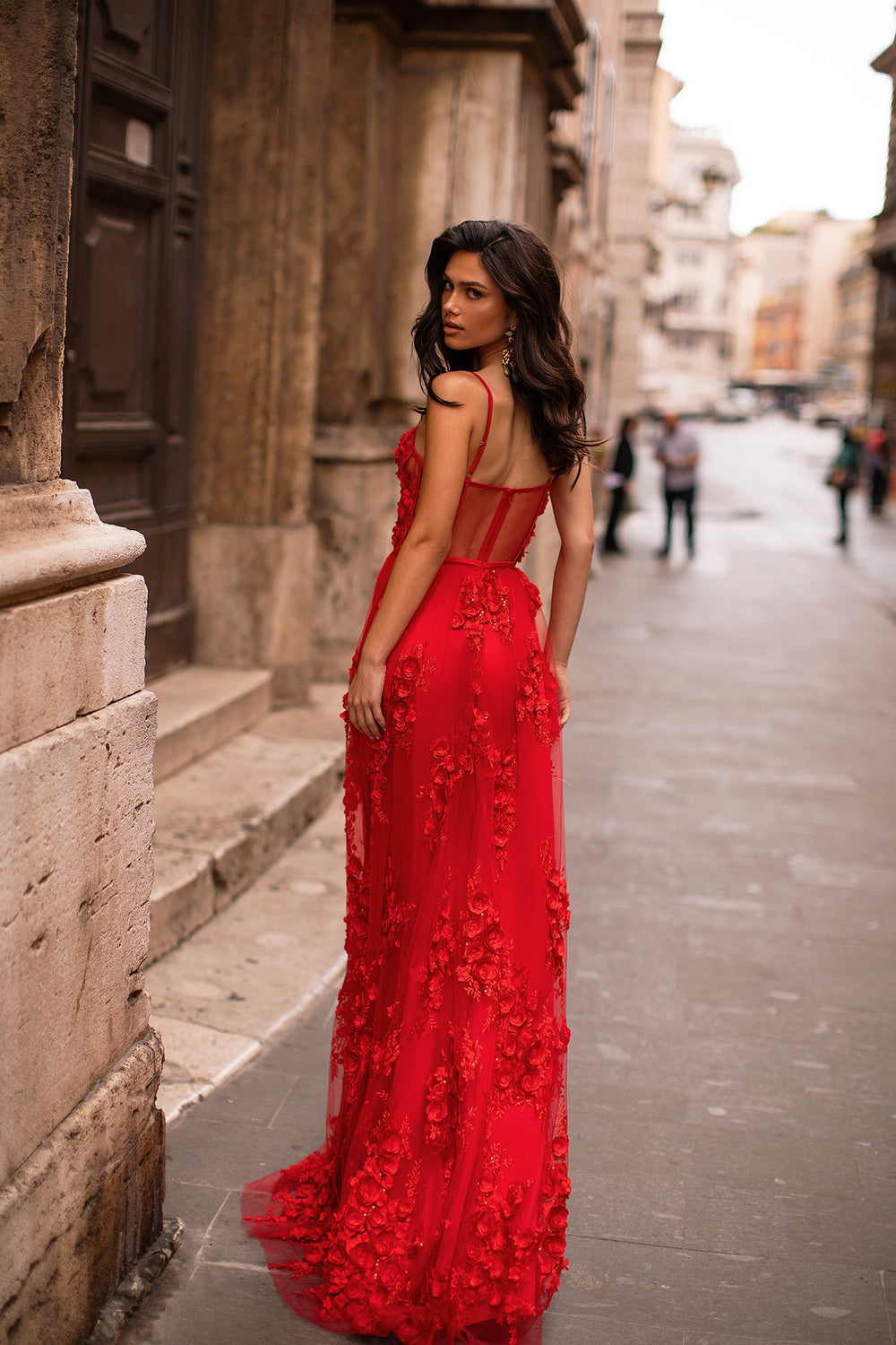 Clarina - Red Embellished A-Line Tulle Gown with Bustier