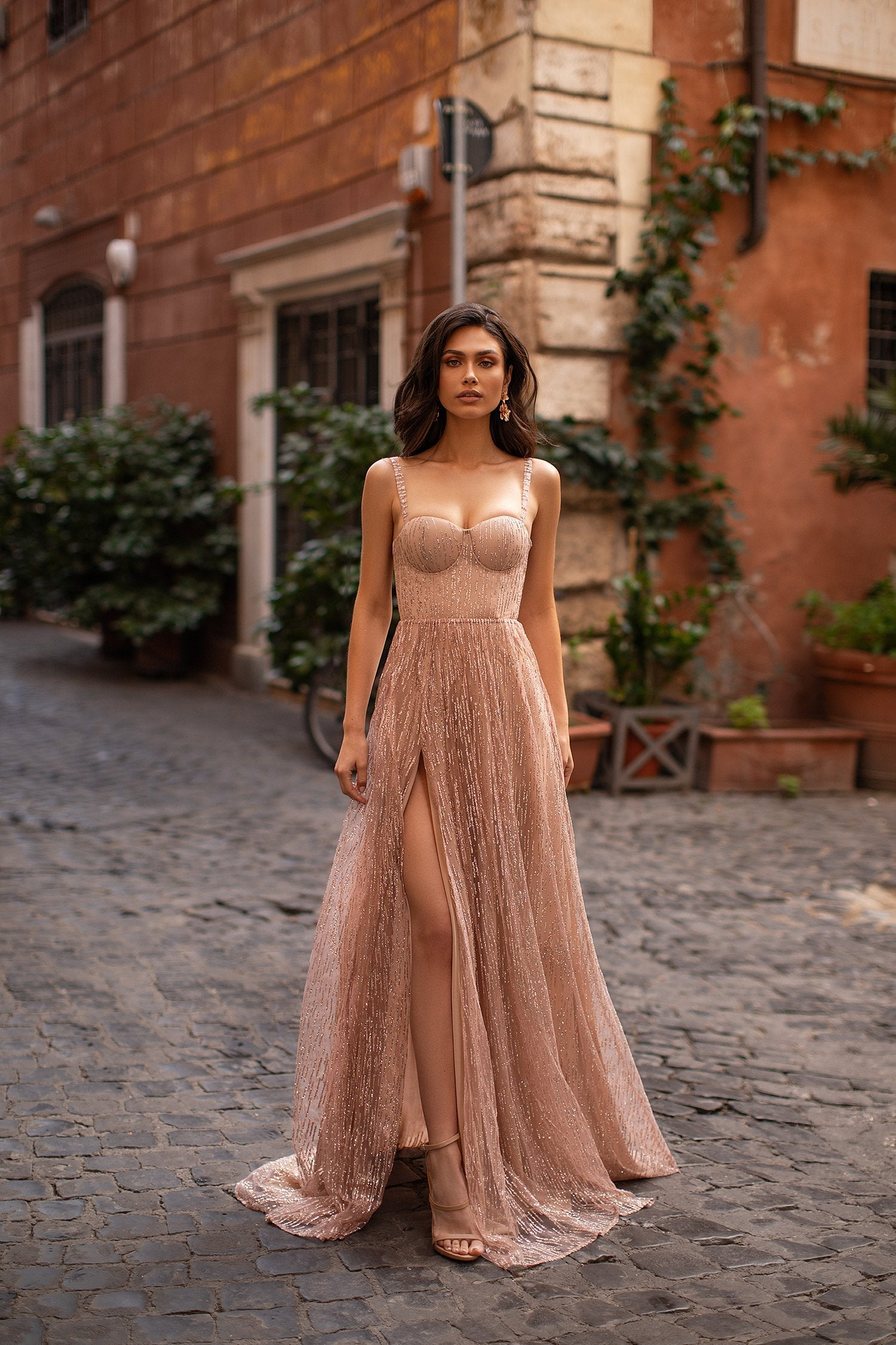 Lucie - Rose Gold A-Line Glitter Gown with Side Slit & Bustier