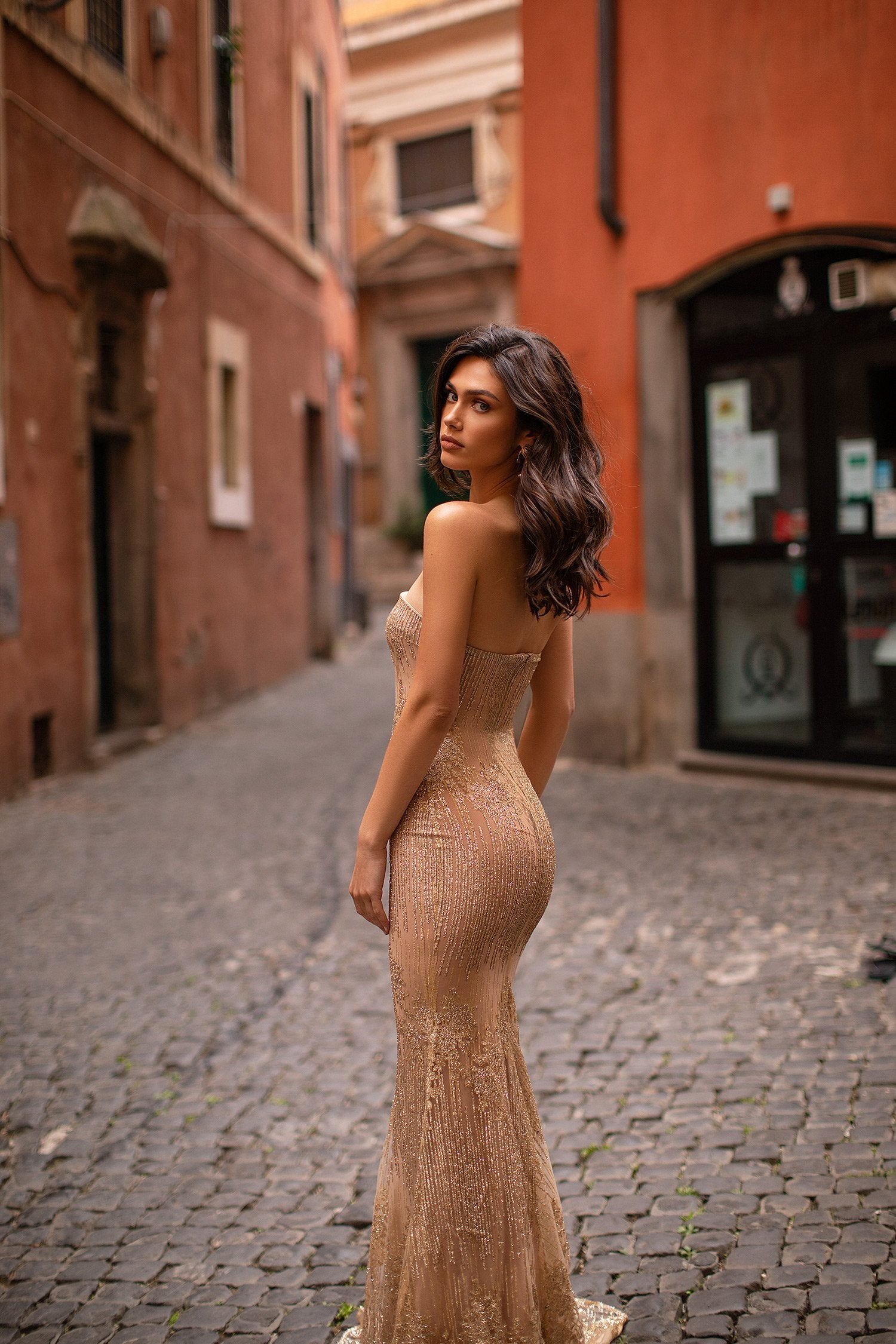 Leila - Gold Strapless Glitter Gown with Mermaid Train