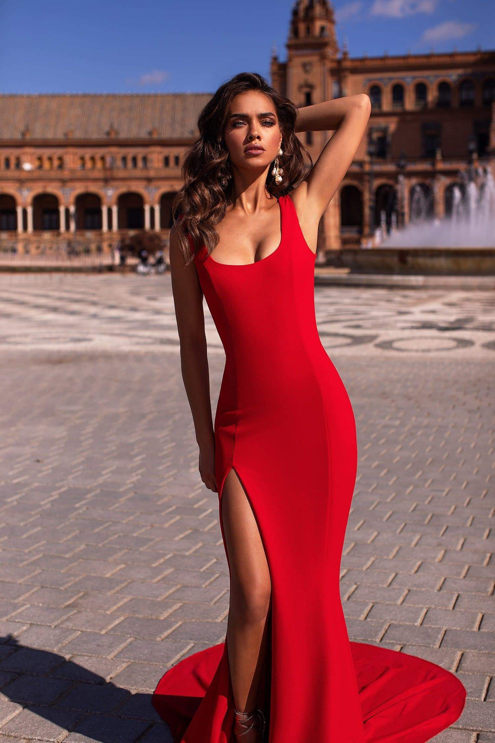 Fernanda - Red Scoop Neck Gown with Side Slit & Mermaid Train