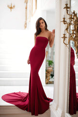 Audreyanna - Burgundy Strapless Satin Gown With Sweep Train