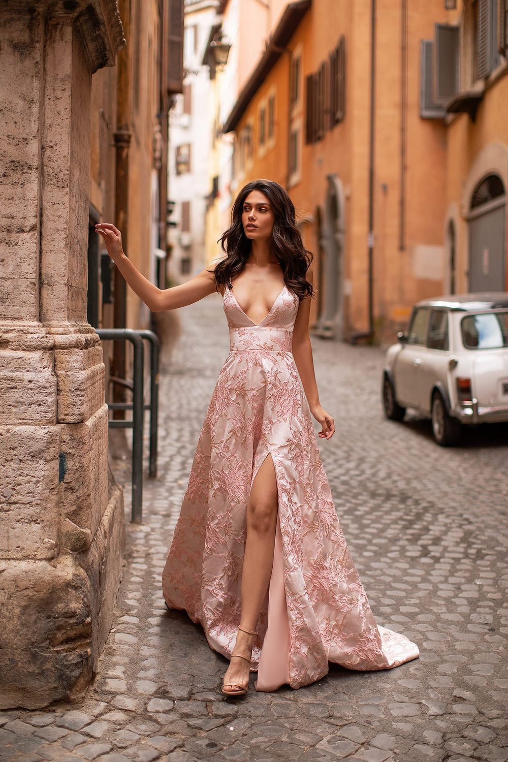 Marcelina - White, Pink & Gold Gown with Plunge Neck & Lace-Up Back