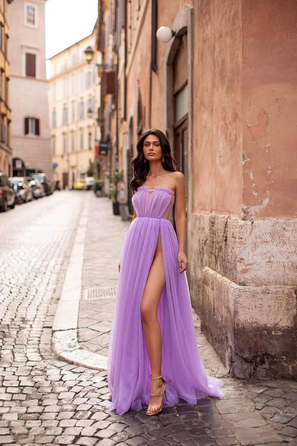 Amalia - Lilac Strapless Tulle A-Line Gown with Side Slit