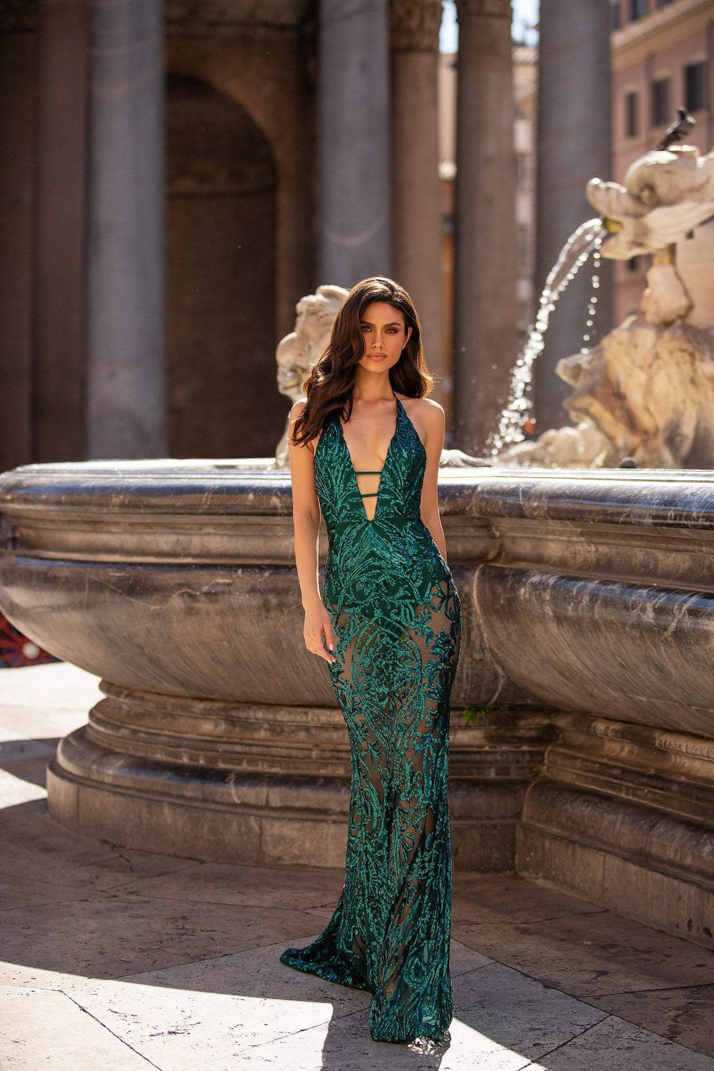 Raffaela - Emerald Sequin Backless Halterneck Gown with Plunge Neckline
