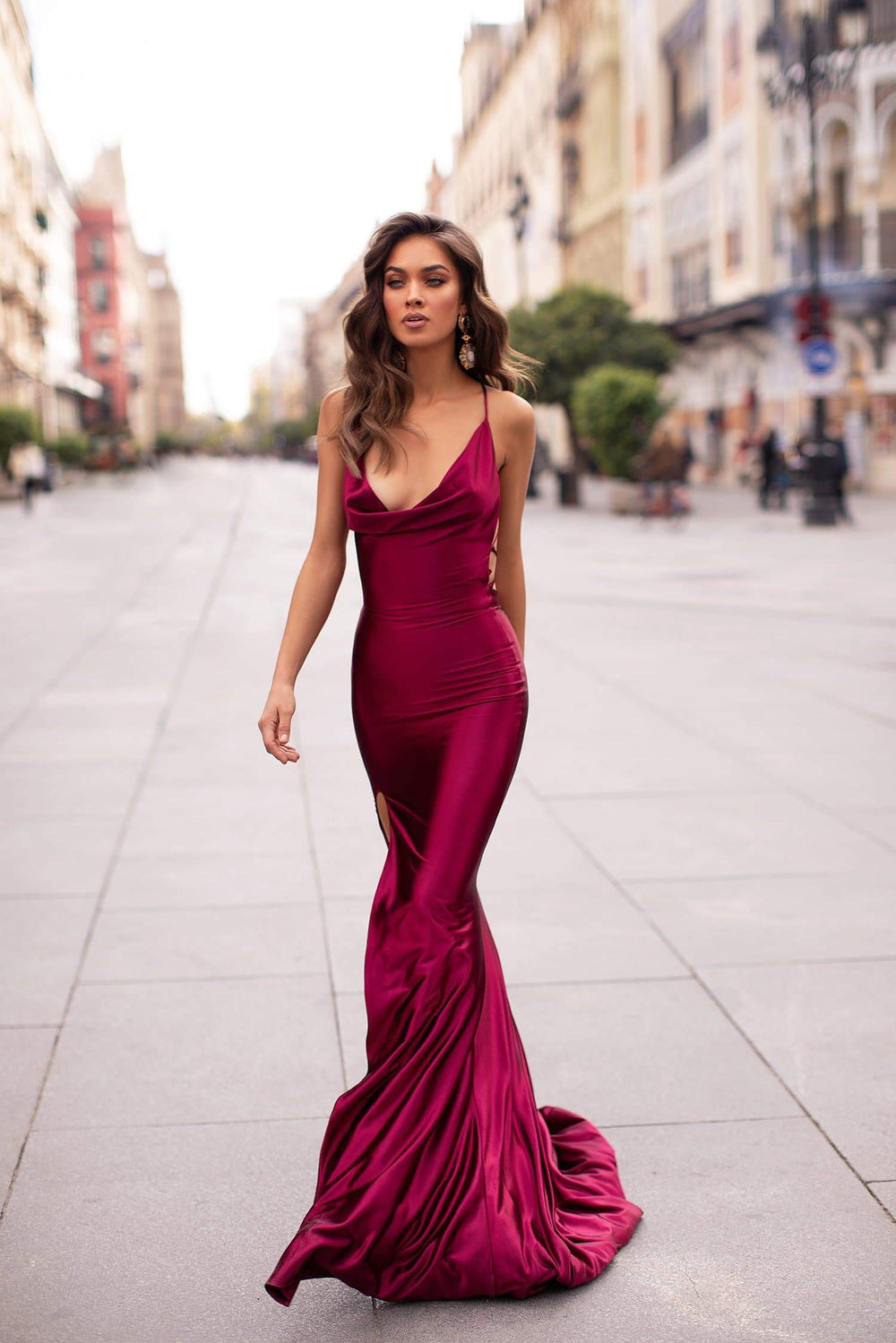 Desirae - Plum Cowl Neck Satin Gown with Side Slit & Lace-Up Back