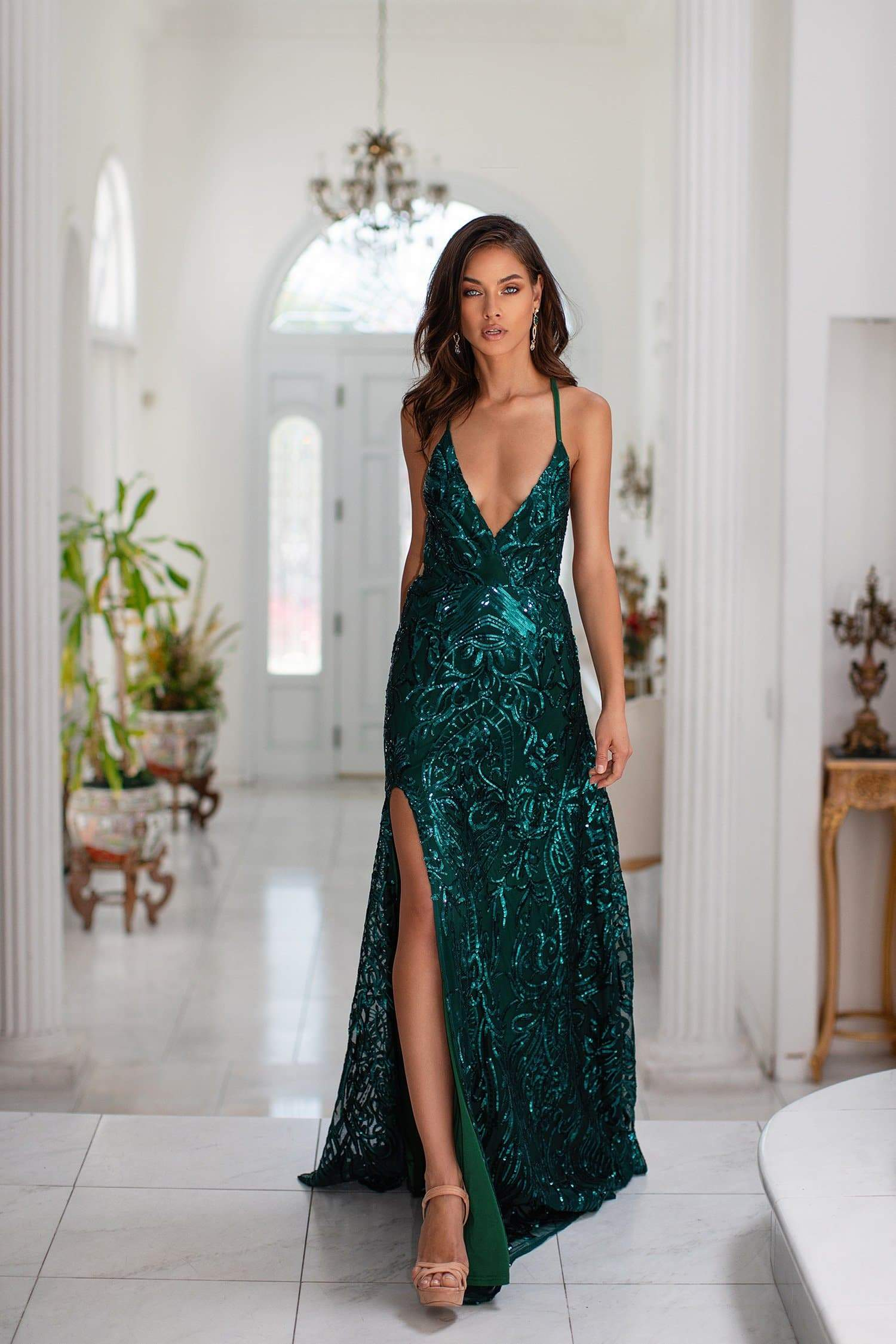 Saniya - Emerald Sequin Gown with Plunge Neckline & Criss-Cross Back