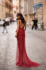 Nina - Red Glitter Gown with Low Back & Frill Detail with Side Slit