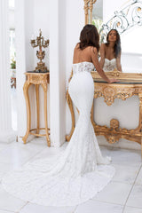 Rebeka - White Strapless Sweetheart Premium Lace Gown with Sheer Waist