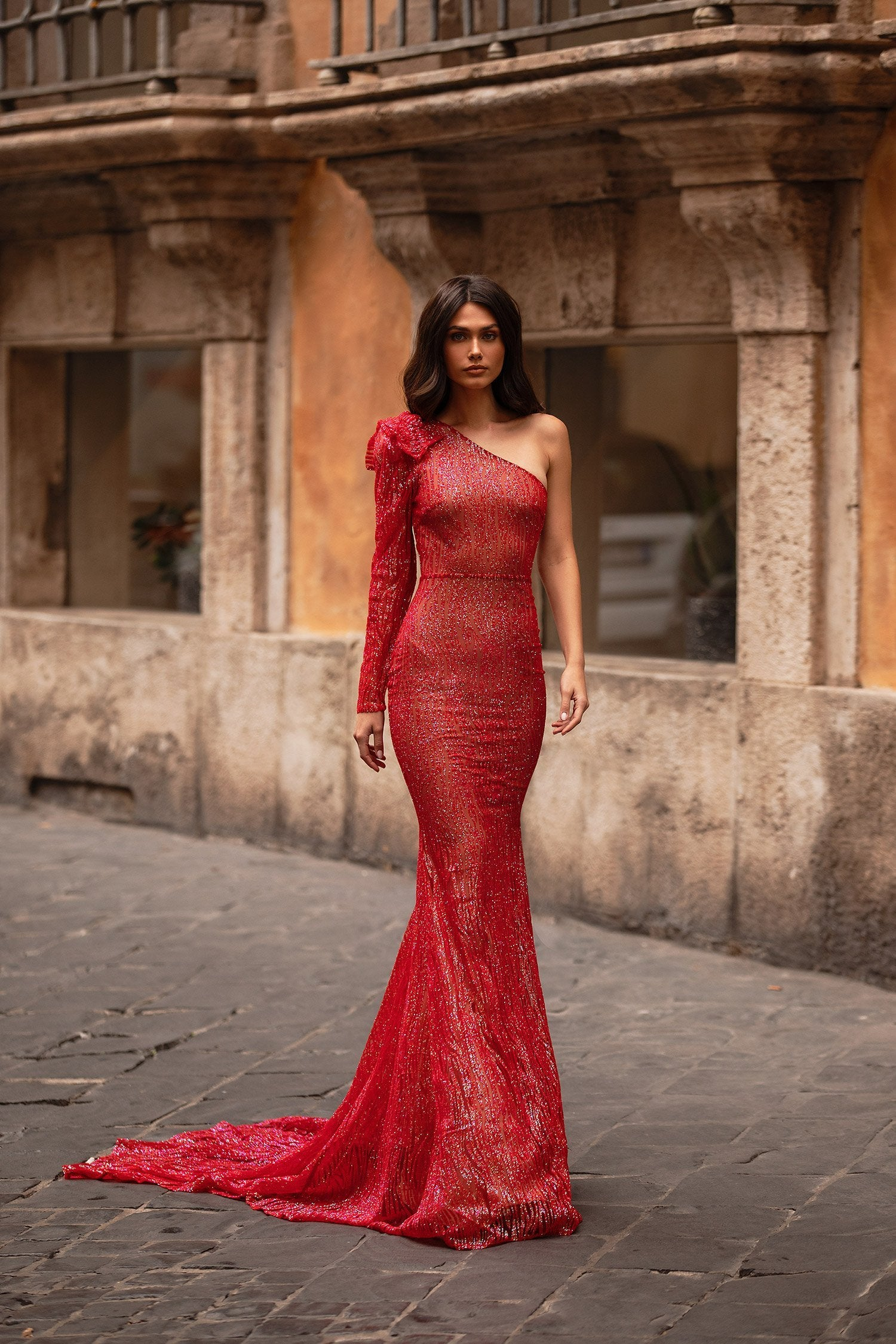 Tatiana - Red Glitter One-Shoulder Gown with Mermaid Train