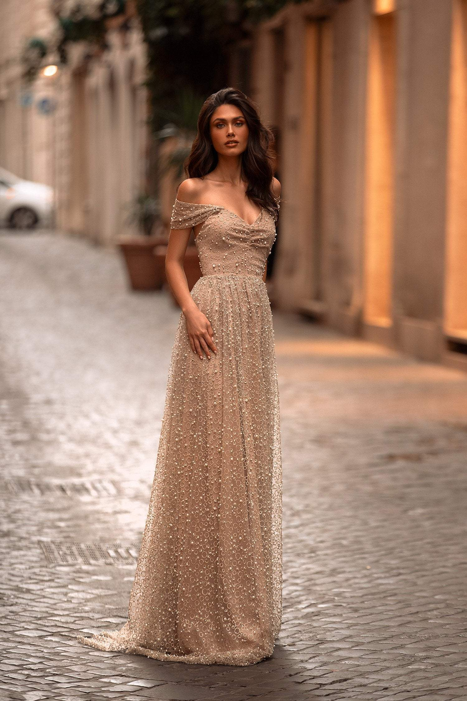 Elena - Gold Off-Shoulder Beaded A-line Gown with Open Back & Pearls
