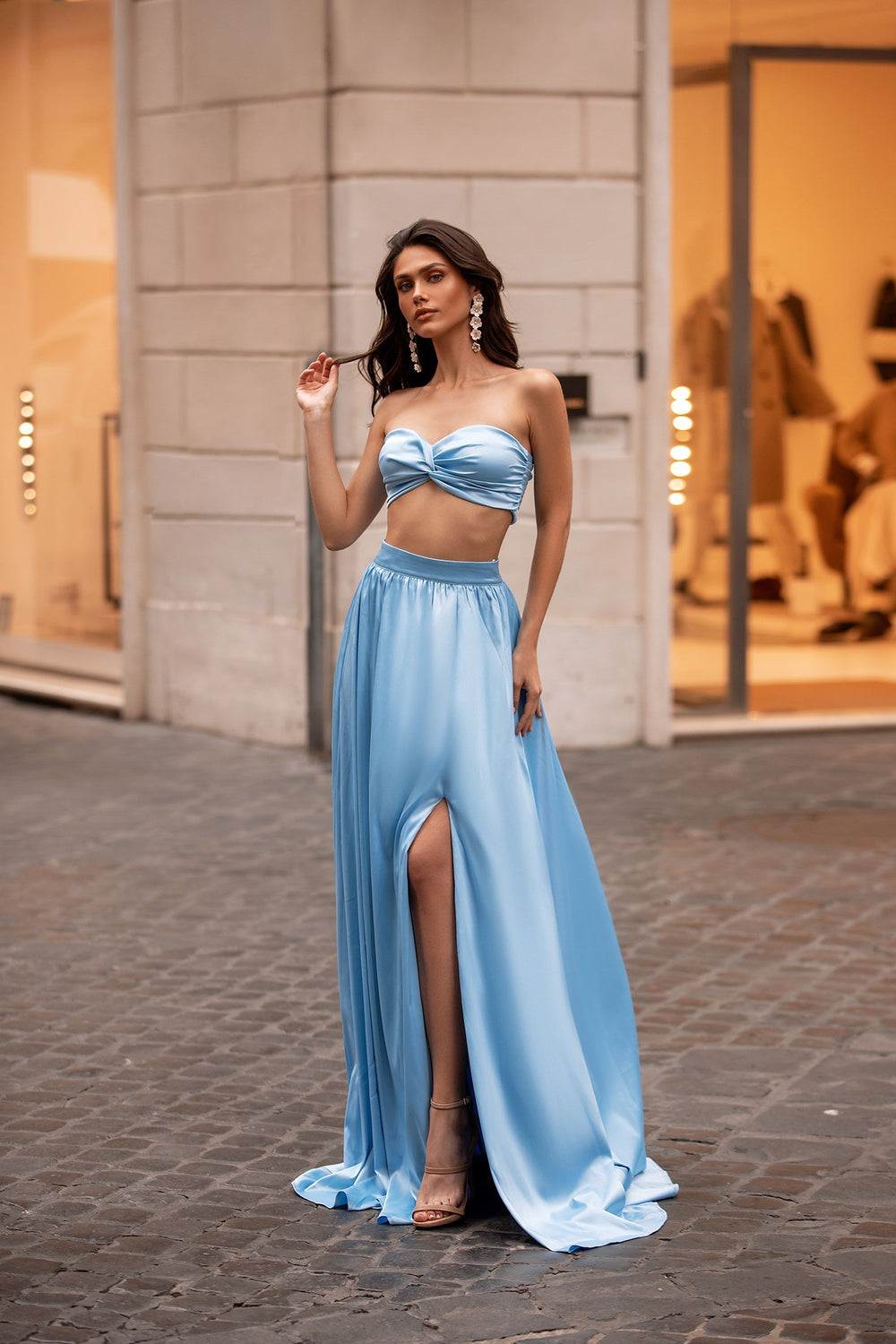 Tina - Sky Blue Satin Two Piece Gown with Slit & Knot Bust Detail