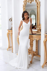 Celesta - White Mermaid Crepe Gown with V-neck and Train