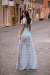 Caterina - Sky Blue Tulle Gown with Plunge Neck & Ruffle Skirt