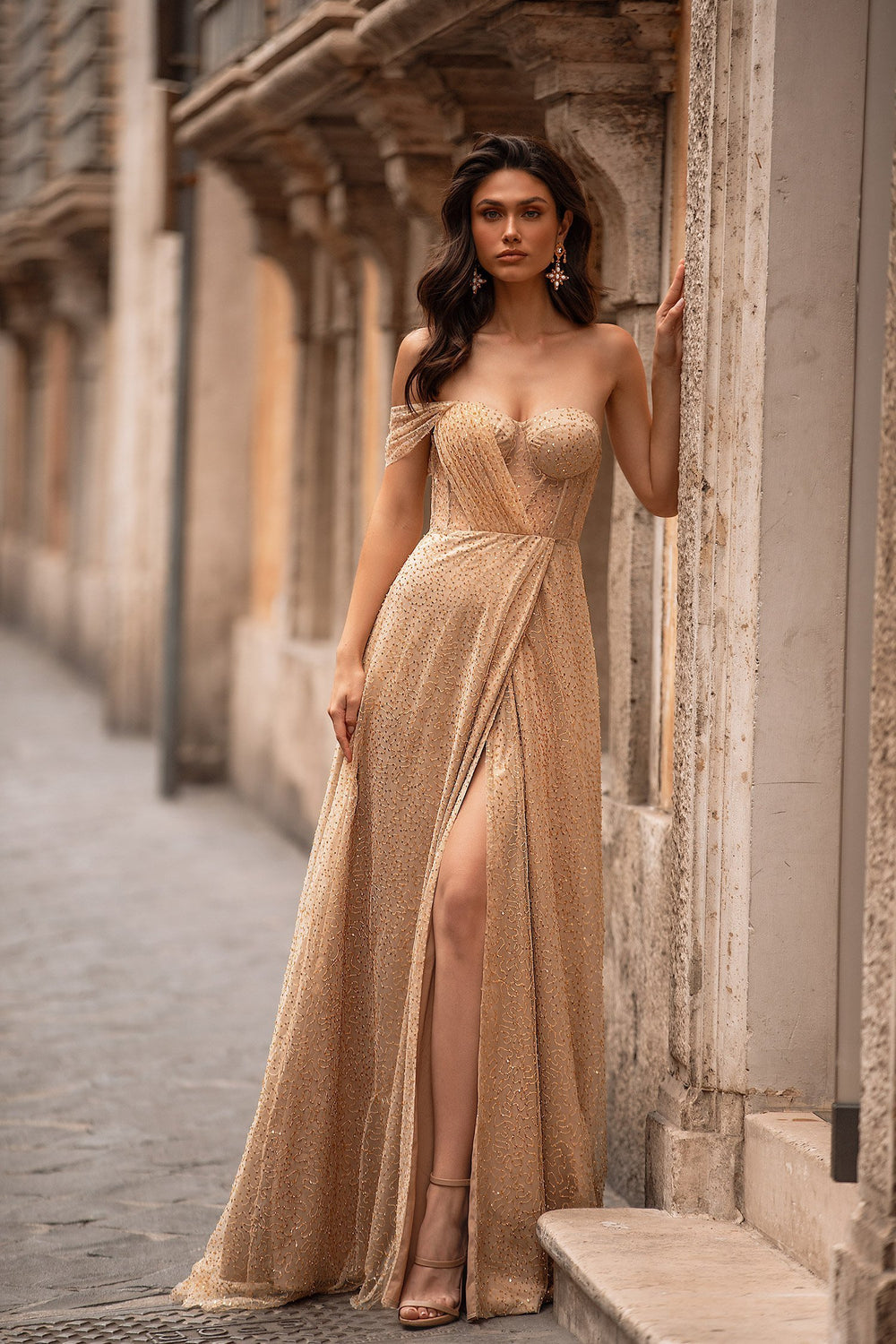 Rina - Gold Beaded Sequin Gown with One Shoulder, Side Slit & Bustier