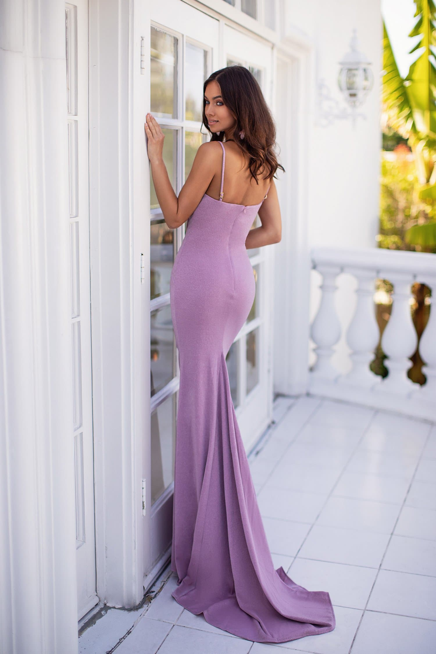 Stefania - Lilac Shimmering Gown with Straight Neckline