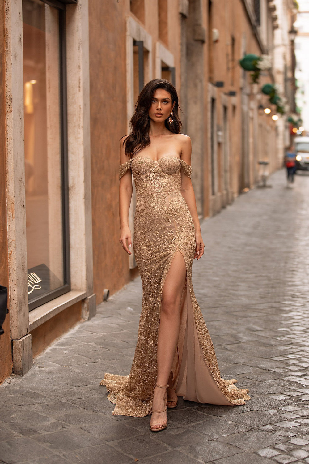 Dunya - Gold Off-Shoulder Lace Gown with Side Slit & Mermaid Train