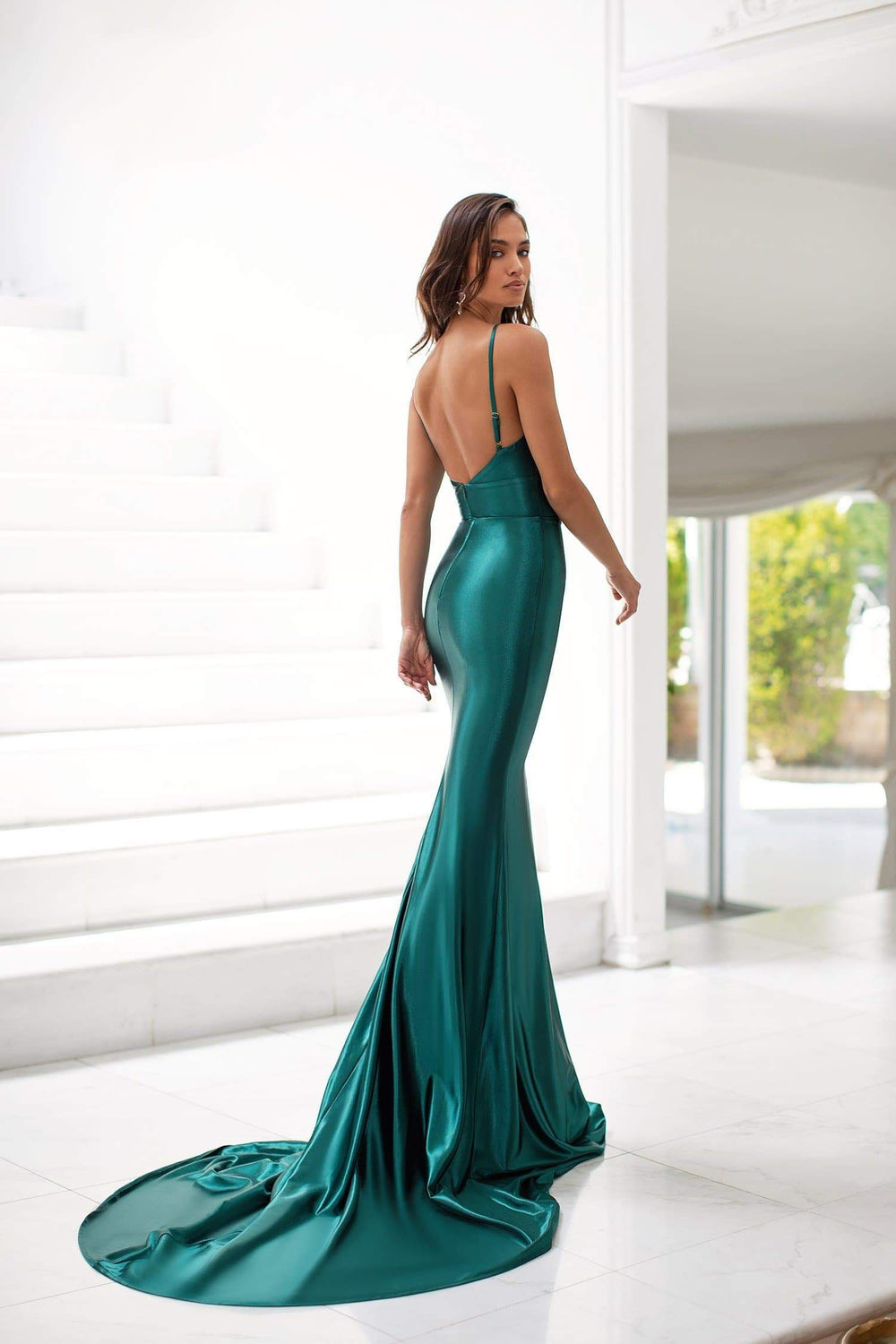 Martina - Emerald Satin Mermaid Gown with V-Neck & Adjustable Straps