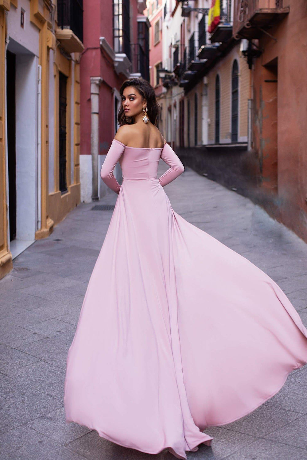 Evelyn - Dusty Pink Off-Shoulder Gown with Front Slits and Knot Detail
