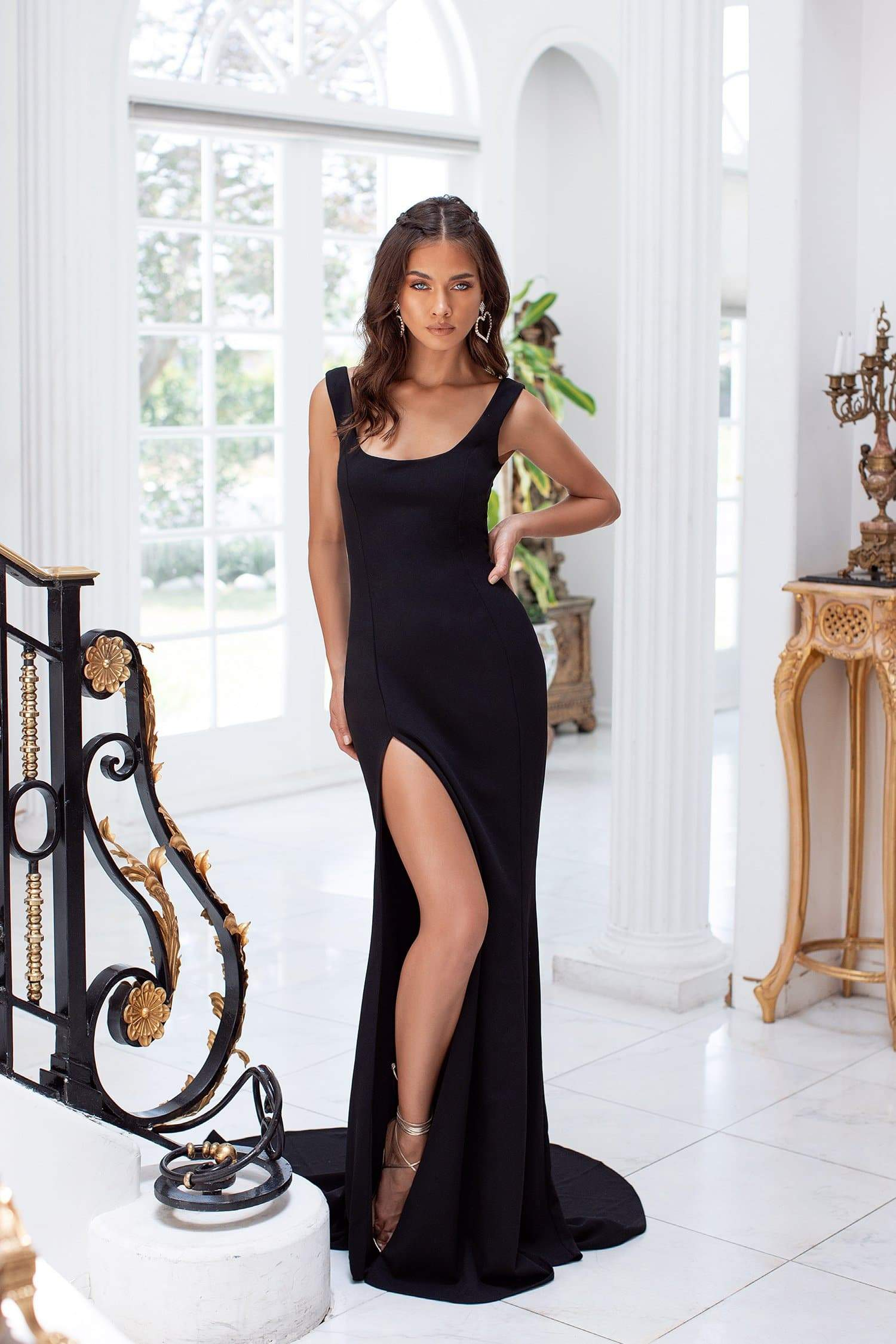Fernanda - Black Scoop Neck Gown with Side Slit & Mermaid Train