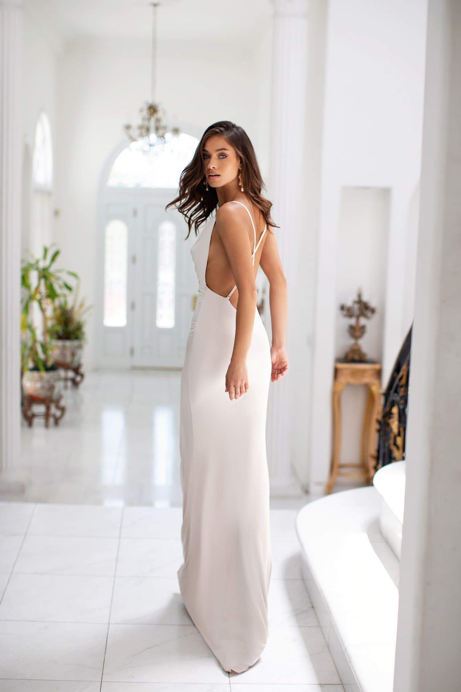 Alyssa - Oyster Gown with Cowl Neck, Criss-Cross Back & Side Slit