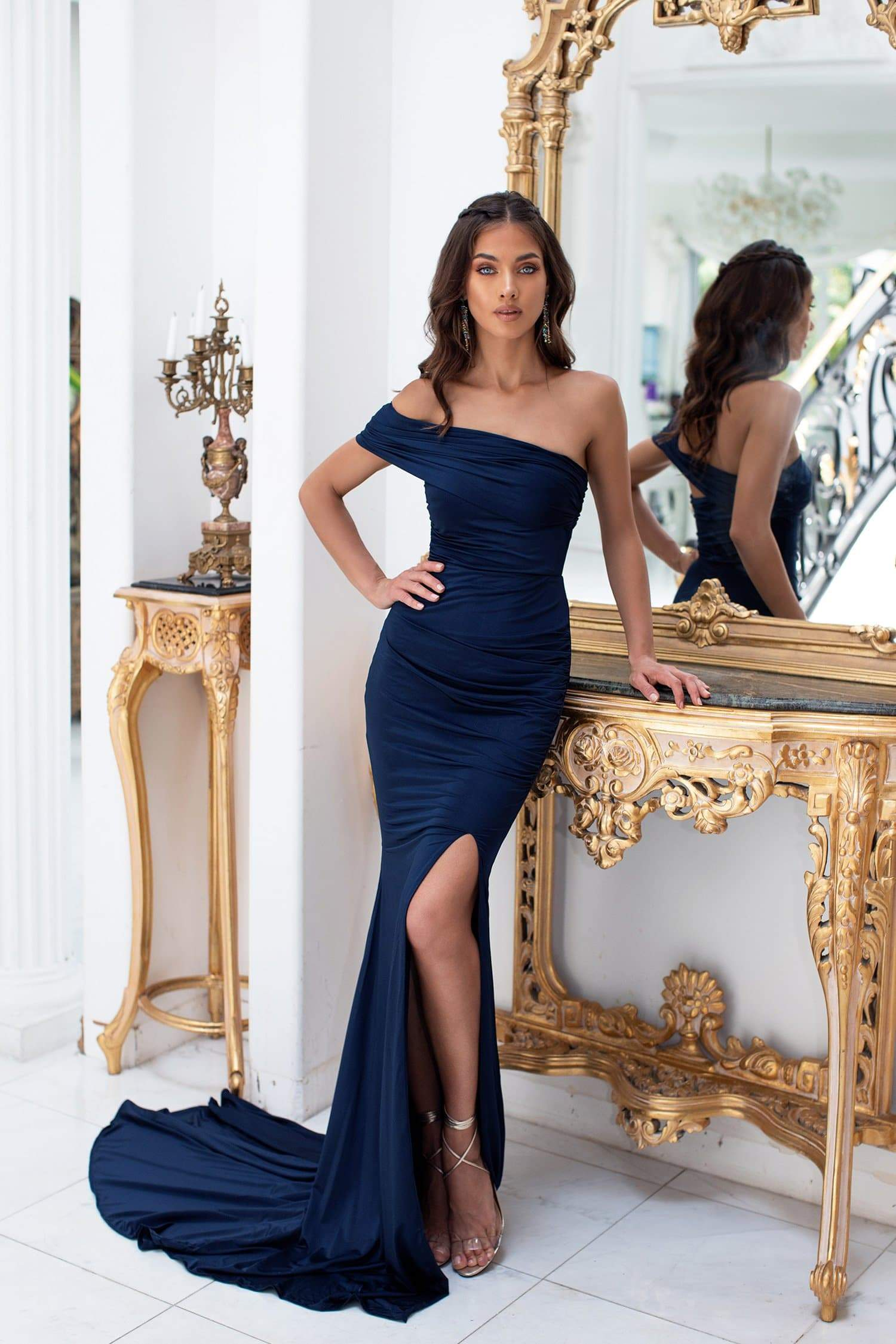 Estrella - Navy One-Shoulder Jersey Gown with Side Slit