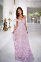 Malia - Lilac Off-Shoulder Glitter Gown