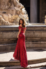 Natale - Wine Red Off-Shoulder Sequin Gown with Side Slit