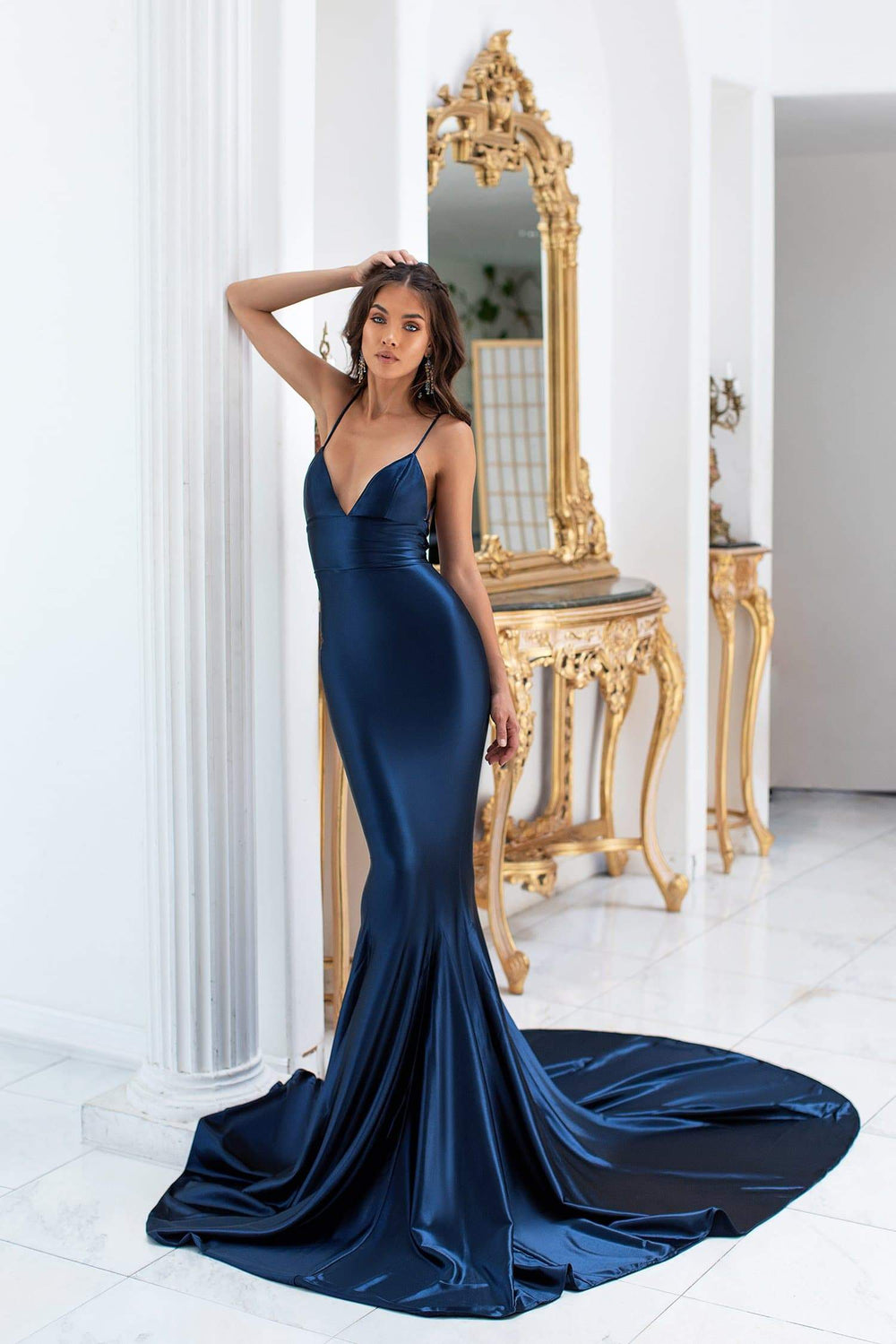 Pascala - Navy Satin Gown with Plunge Neck & Lace Up Back