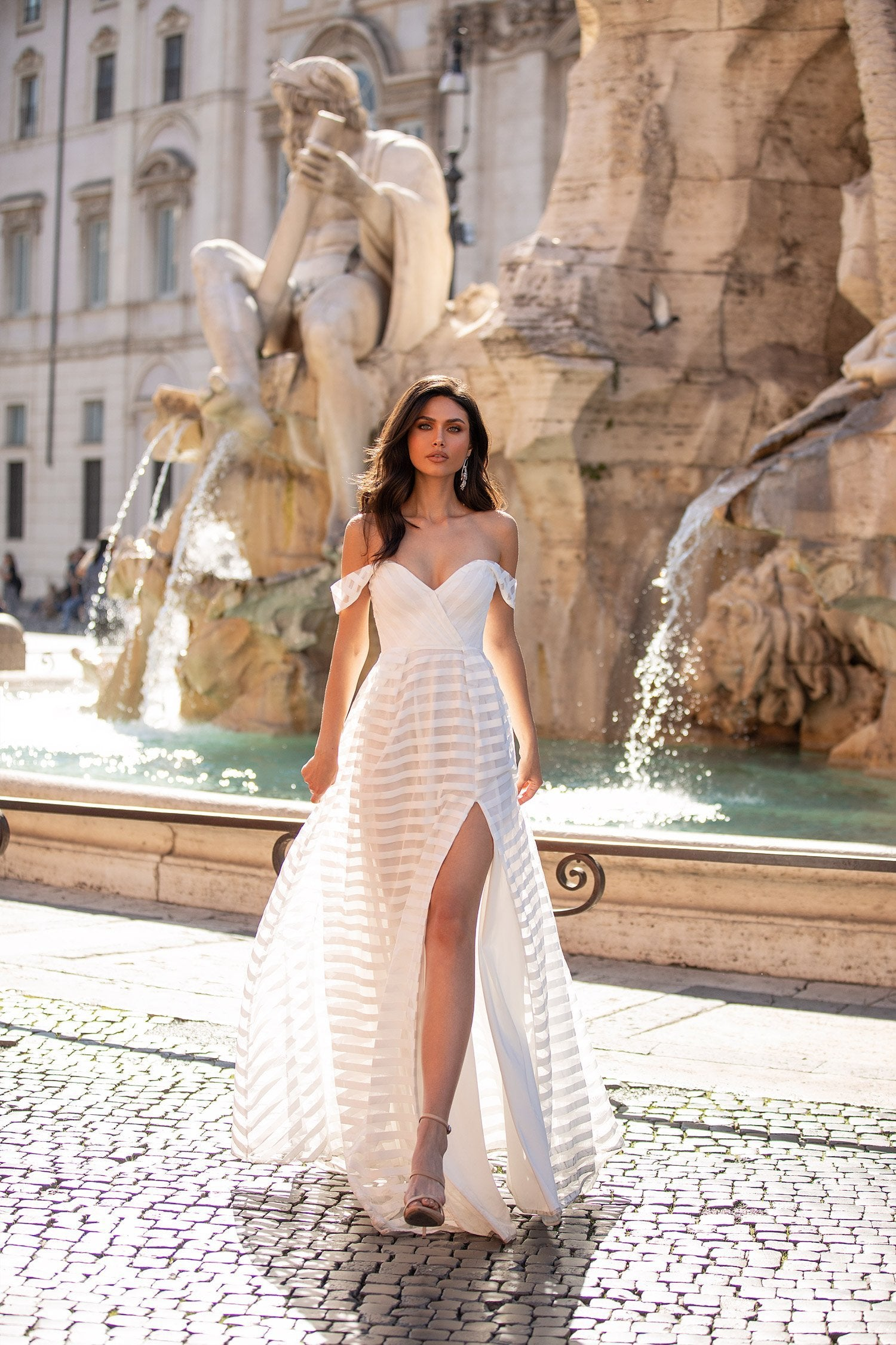 Sandy - White Striped Off-Shoulder Gown With Side Slit