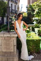 Luriana - White Sequins Mermaid Gown with Plunge Neck & Low Back