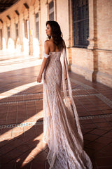 Gabriela - White Sweetheart Glitter Gown with Nude Lining & Side Slit
