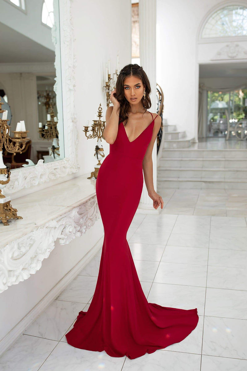 Maribel - Wine Red Mermaid Gown with Plunge Neck & Tie-Up Back Detail