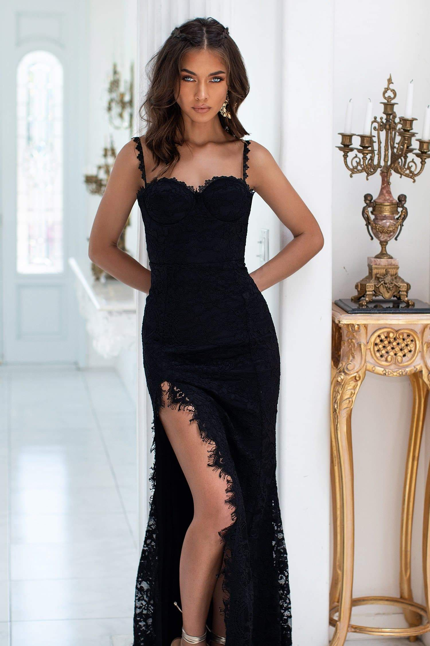 Caliana - Black Lace Gown with Classic Bustier, Low Back & Side Slit
