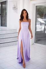 Thea - Lilac Ombre Satin Gown with Tie-Up Straps  & Side Slit