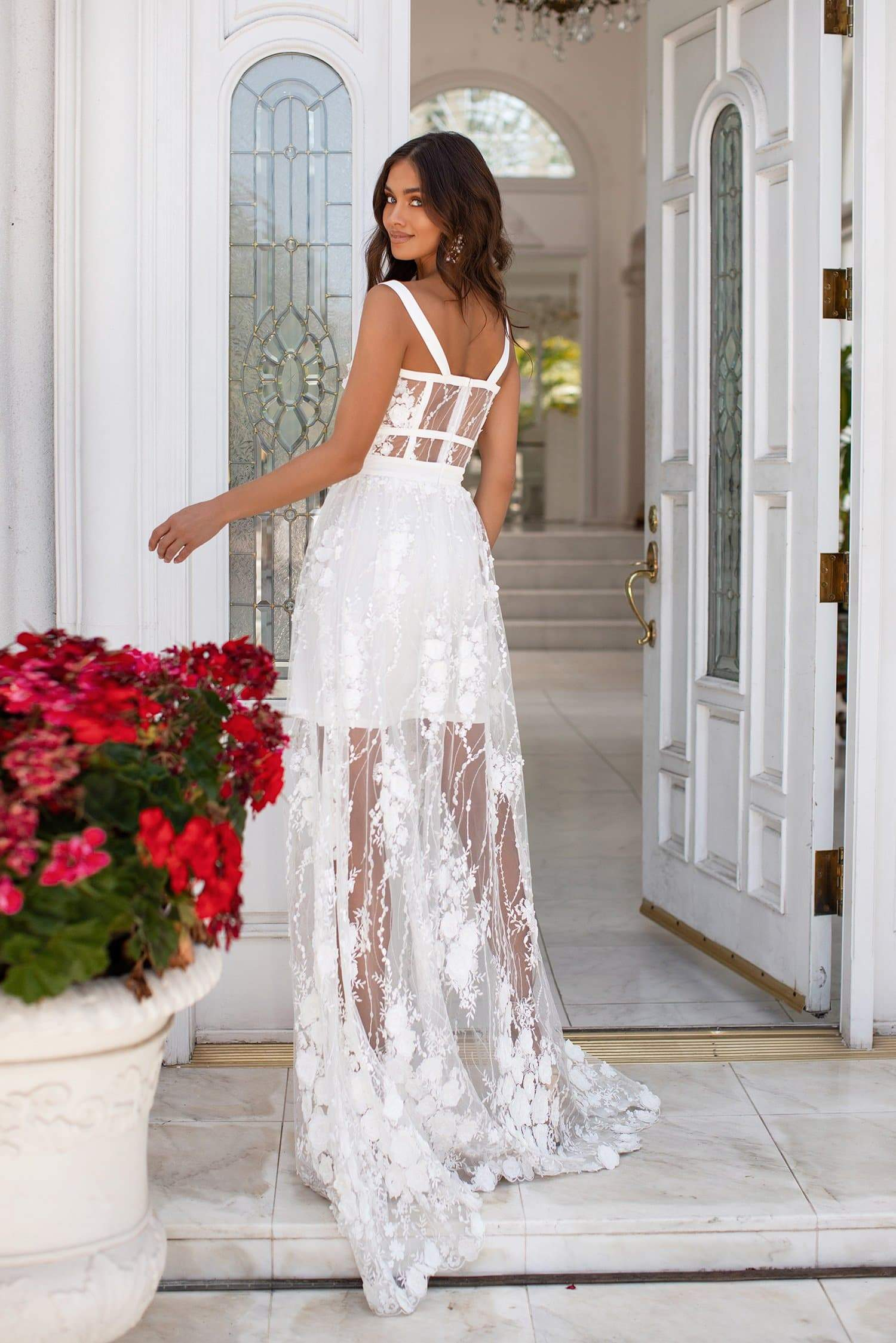 Mariella - White 3D Floral Embellished Gown with Structured Bodice