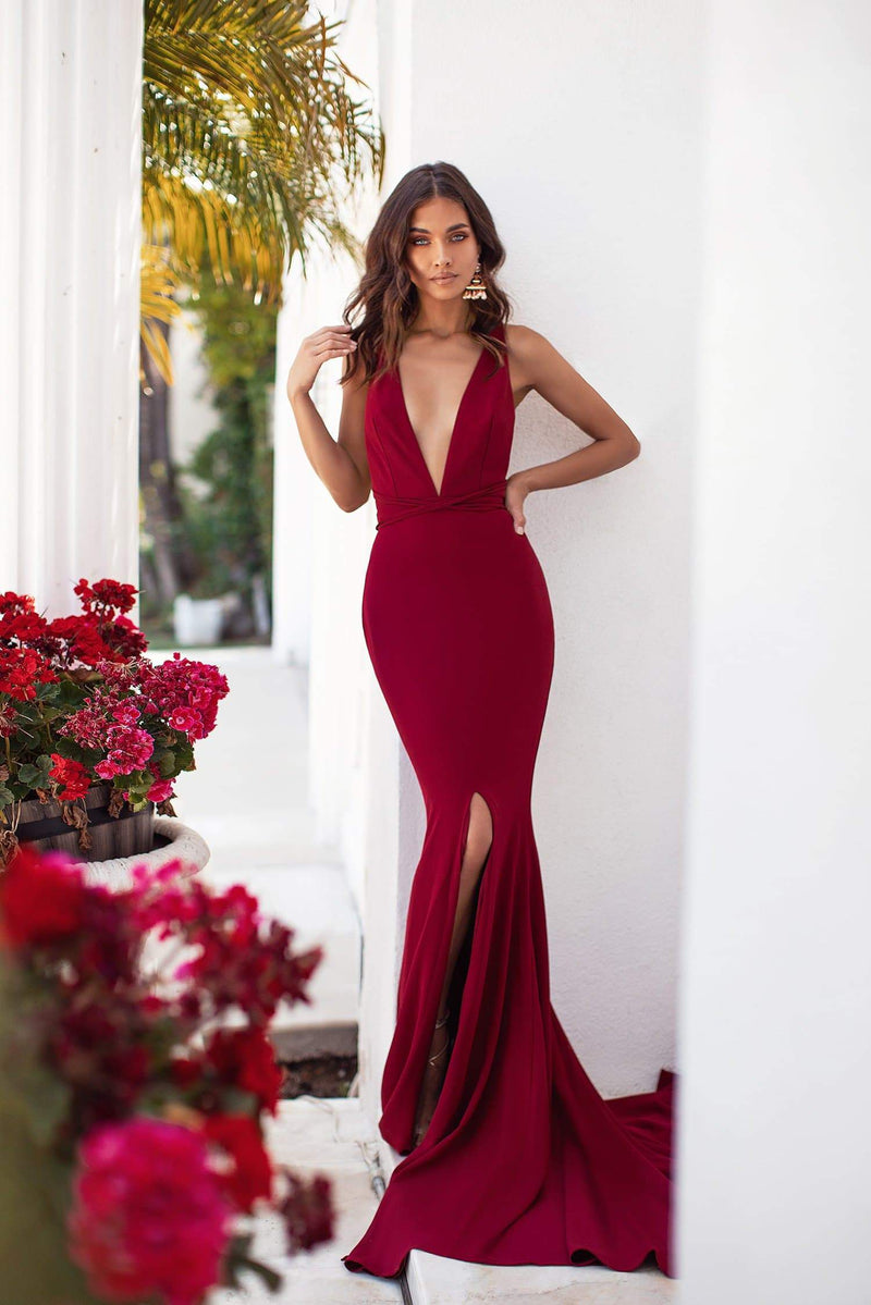 Julianne - Burgundy Plunge Neck Gown with Slit & Multiway Straps