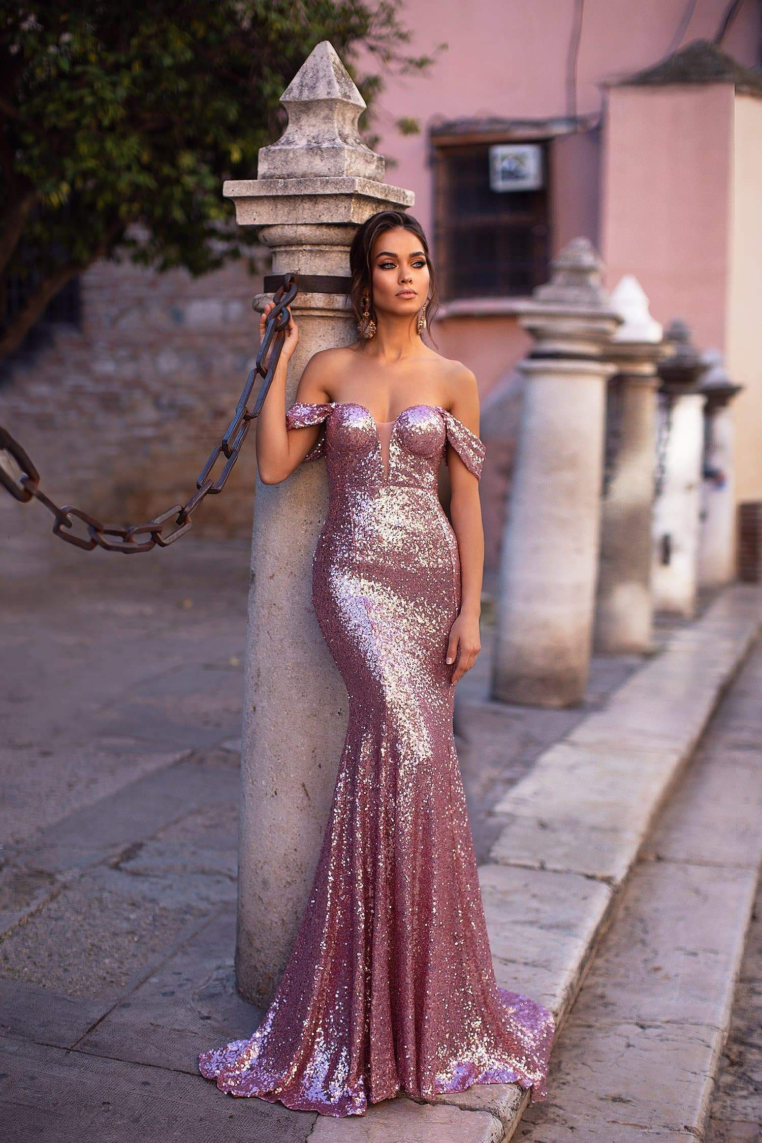 Kassandra - Rose Pink Sequin Off-Shoulder Mermaid Gown with Mesh Detail