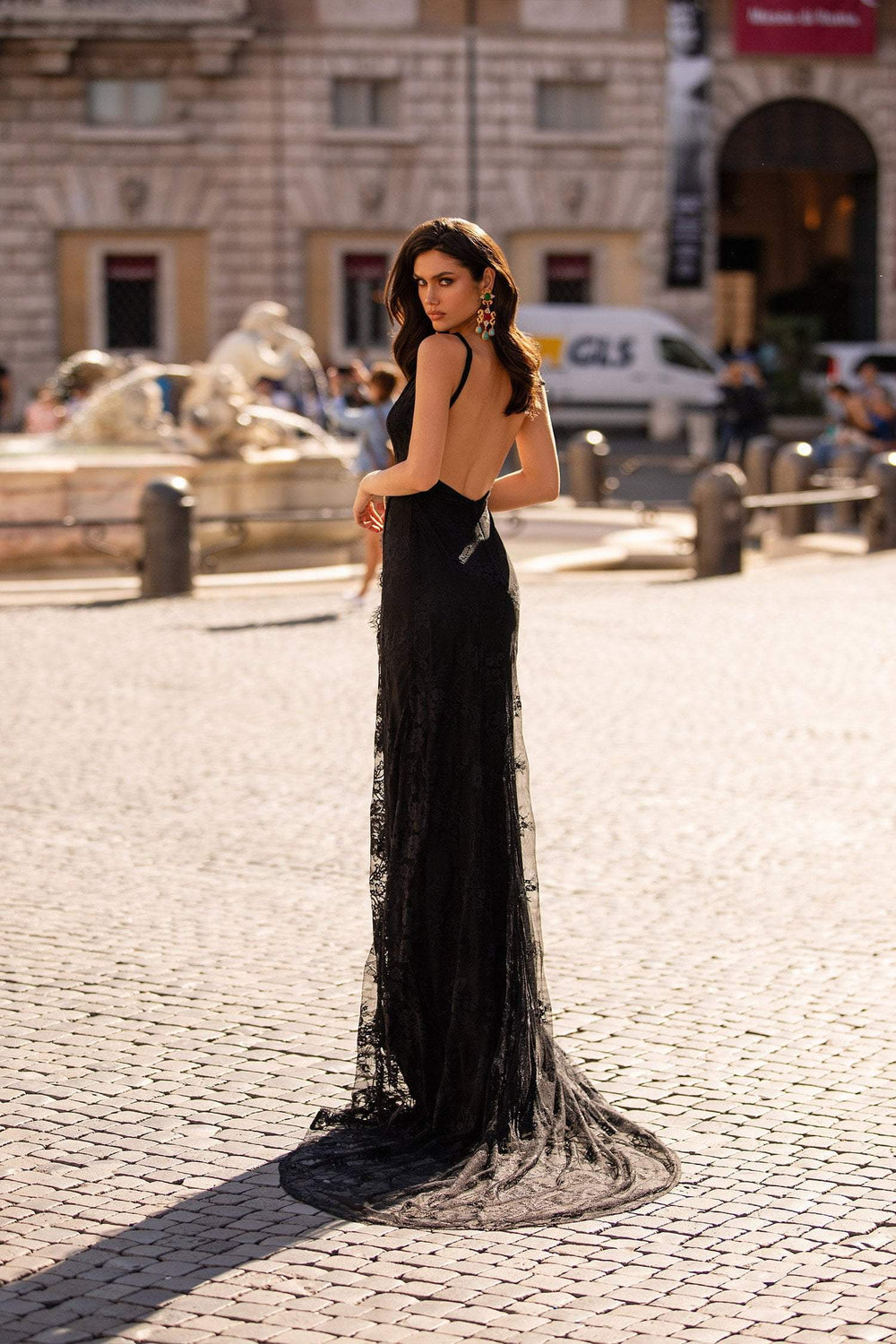 Cristina - Black Lace Plunge Neck Gown With Slide Slit & Low Back