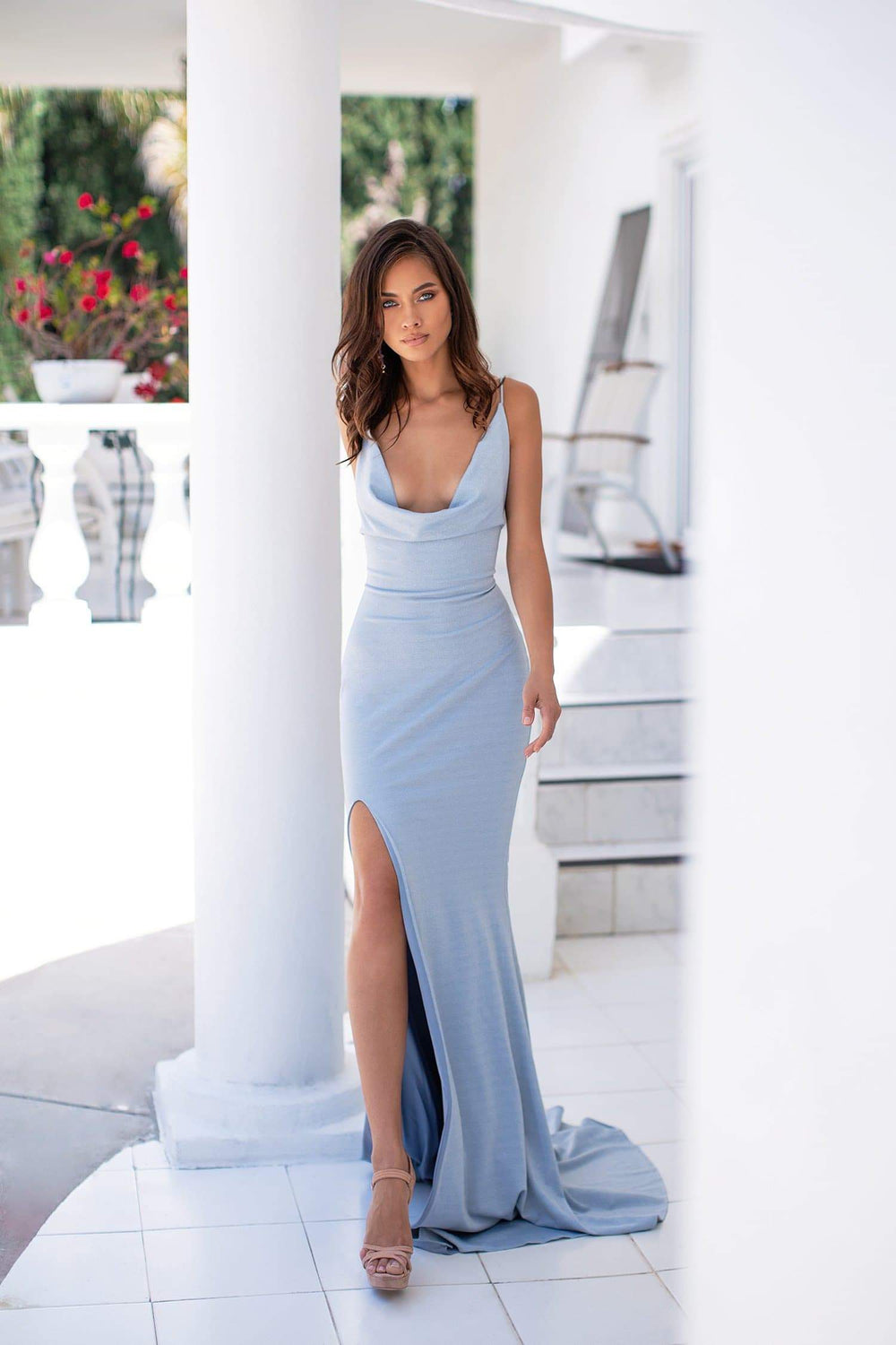 Ivana - Sky Blue Shimmering Cowl Neck Gown with Side Slit & Lace-Up Back