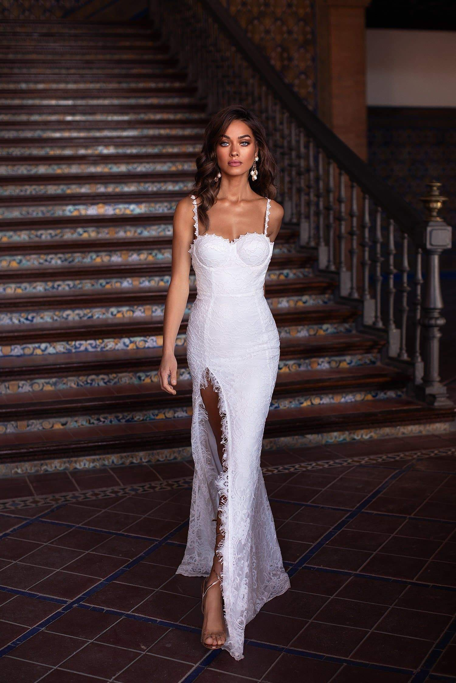 Caliana - White Lace Gown with Classic Bustier, Low Back & Side Slit