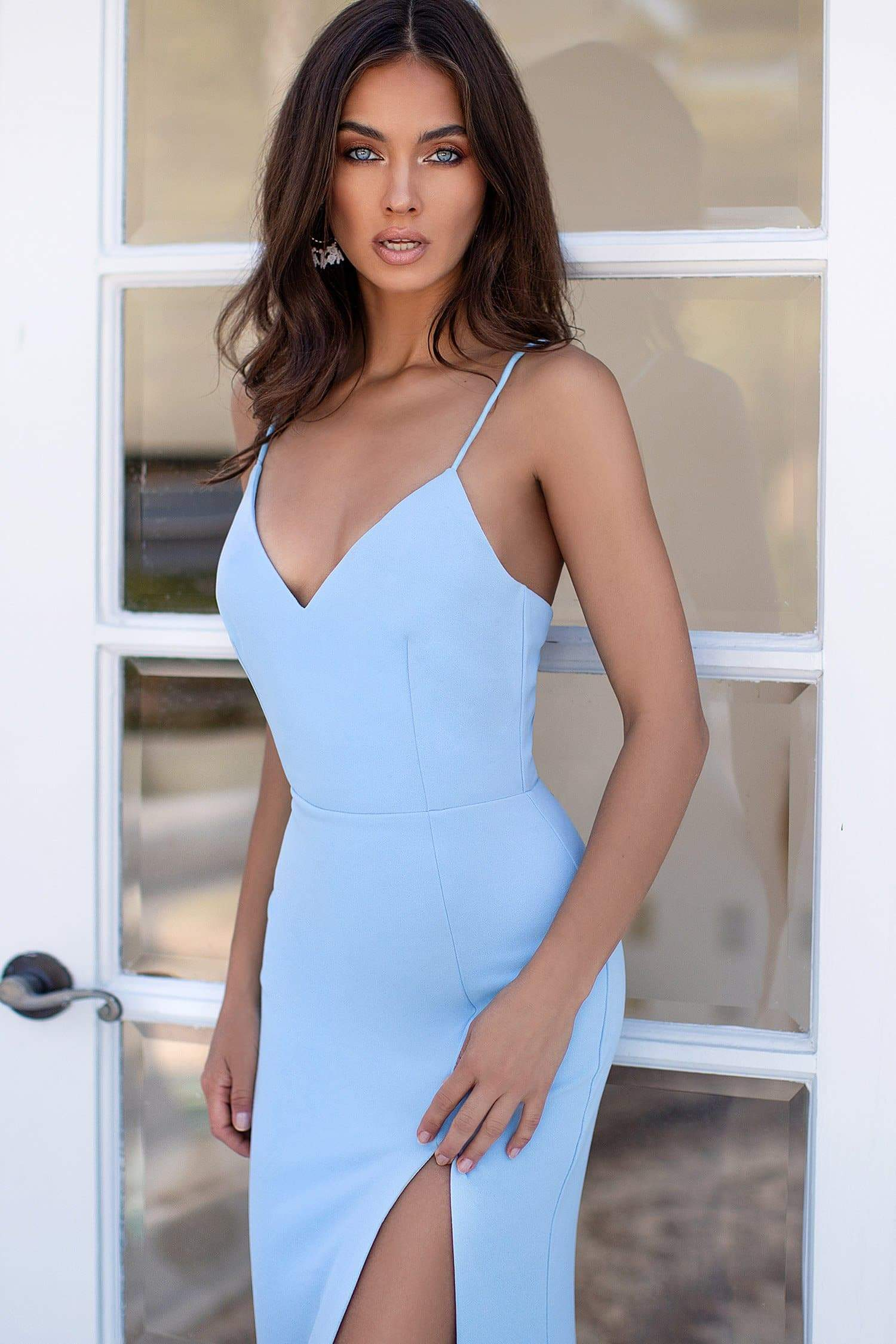 Estelle - Sky Blue Gown with Lace-Up Back & Slit