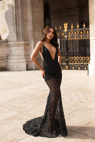 Joella Glitter Sequins Gown - Black Pre-Order End of August