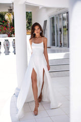 Olivia - White Satin Gown with Scoop Neckline, Slits & Lace-Up Back