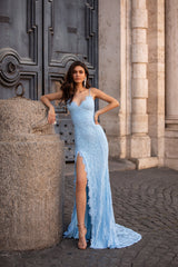 Kaia - Sky Blue Lace Gown with Lace-Up Back & Side Slit